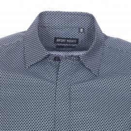 Chemise cintrée Antony Morato en coton noir à petits points blancs et bleu pétrole