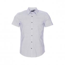 Chemise cintrée manches courtes Antony Morato en coton blanc à petits motifs bleu marine