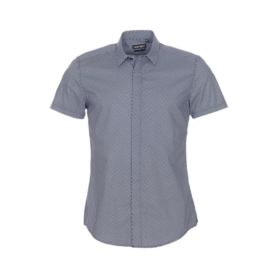 Chemise manches courtes  en coton noir à losanges blancs et gris