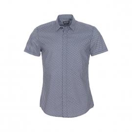 Chemise manches courtes Antony Morato en coton noir à losanges blancs et gris