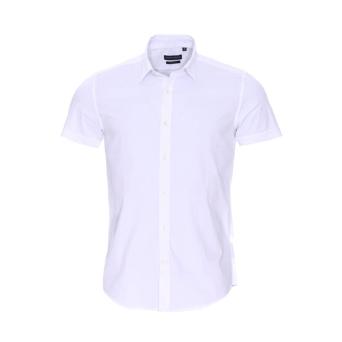 Chemise super slim manches courtes  en coton stretch blanc