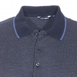 Polo Antony Morato en coton bleu nuit brodé de petits tirets blancs