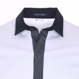 Polo Antony Morato en jersey de coton blanc à petit col chemise bleu marine