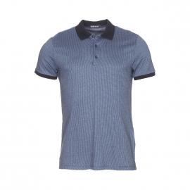 Polo Antony Morato en jersey de coton bleu grisé à motifs écailles noires