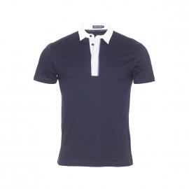 Polo Antony Morato en jersey de coton bleu marine à petit col chemise blanc