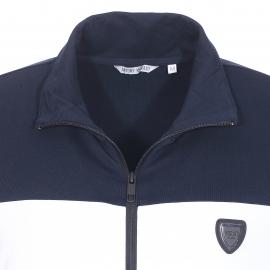 Sweat zippé Antony Morato gris chiné, blanc et bleu marine