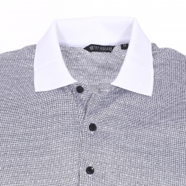 Polo Antony Morato à petits motifs brodés noirs et blancs et col blanc