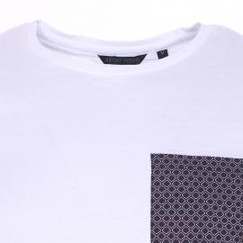 Tee-shirt col rond Antony Morato blanc à poche bleu marine imprimé losanges