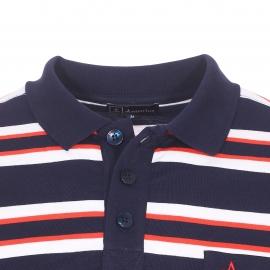 Polo Armor Lux en jersey de coton bleu marine à rayures blanches et rouges