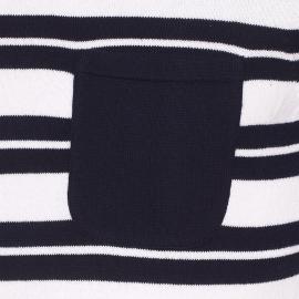 Pull col boutonné Armor lux en coton blanc à rayures bleu marine et rouges