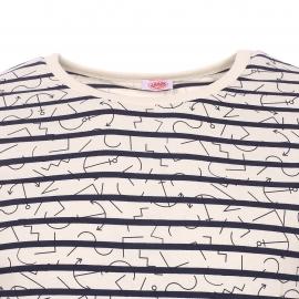 Tee-shirt col rond Armor Lux crème à imprimés encres marines et rayures bleu marine