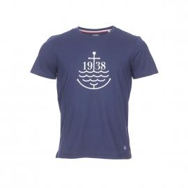 Tee-shirt col rond Armor Lux en coton bleu marine à imprimé