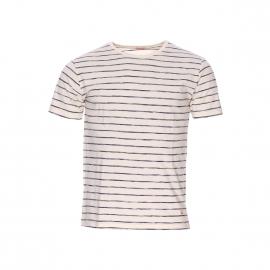 Tee-shirt col rond Armor Lux en coton crème à rayures bleues