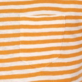 Tee-shirt col rond Armor Lux en coton et lin crème à rayures ocre