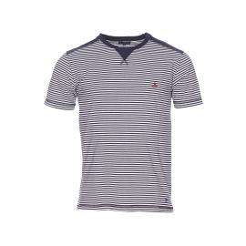 Tee-shirt col rond Armor Lux en jersey de coton à rayures bleu marine et blanches