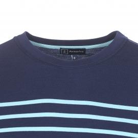 Tee-shirt col rond Armor Lux en jersey de coton bleu marine à rayures bleu turquoise