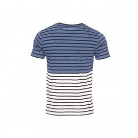 Tee-shirt col rond Armor Lux bicolore crème et bleu orage à rayures bleu marine