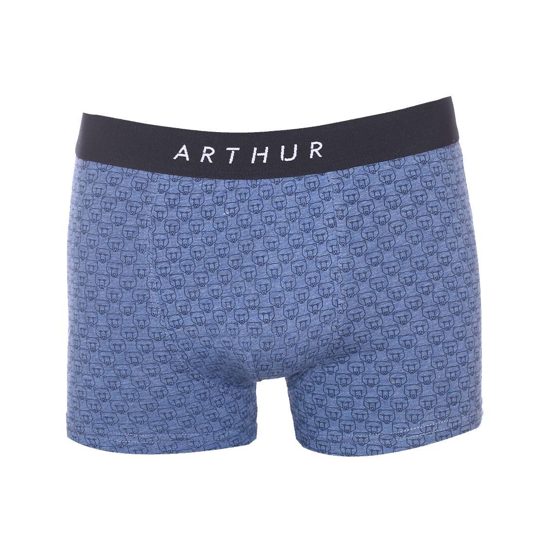Boxer Arthur en coton stretch bleu jean à imprimés têtes d'ours