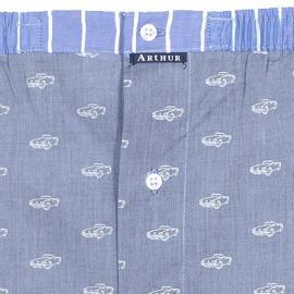 Caleçon coupe française Arthur bleu jean à motifs voitures décapotables