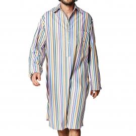 Liquette chemise Arthur en coton à rayures multicolores pastel