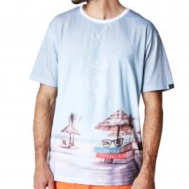 Pyjama court Arthur Intello de plage : tee-shirt col rond à imprimé plage et short orange