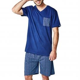 Pyjama court Arthur Jaws : tee-shirt col V bleu marine à poche et bermuda bleu marine à imprimés requins