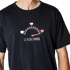Pyjama court Arthur Minilove : tee-shirt col rond noir et caleçon à imprimés cœurs