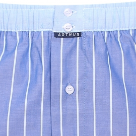 Caleçon club Arthur bleu jean à fines rayures et ceinture bleu clair