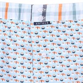 Caleçon club Arthur bleu ciel à motifs sushis et ceinture à carreaux