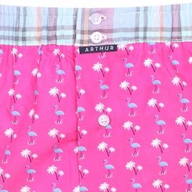 Caleçon club Arthur rose à motifs flamants roses turquoise et ceinture à carreaux