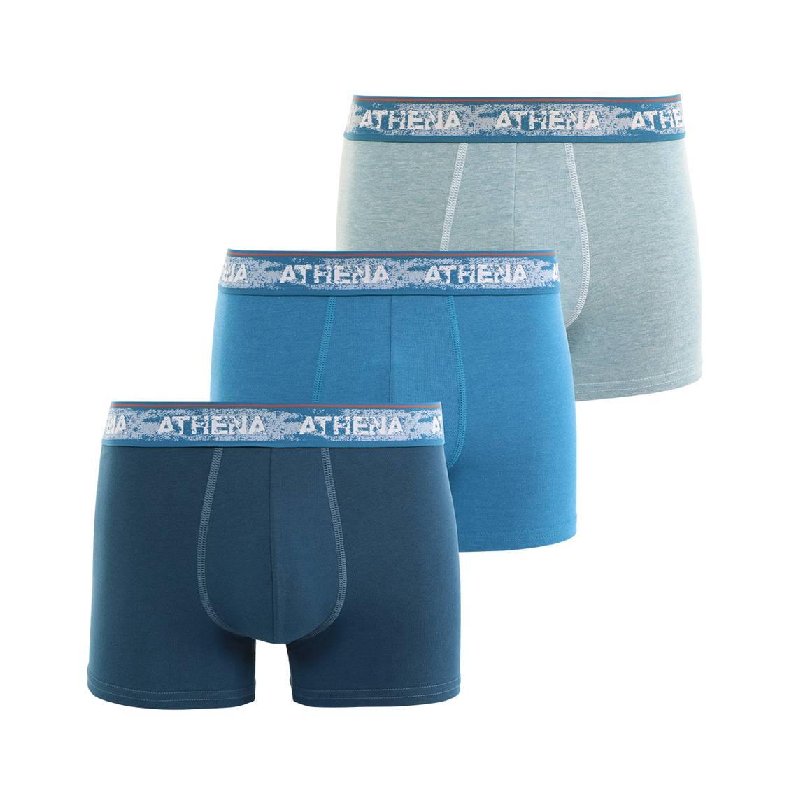 Lot de 3 boxers athena denim en jersey de coton m lang for Bleu canard clair