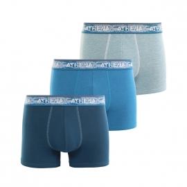 Lot de 3 boxers Athena denim en jersey de coton mélangé bleu foncé, bleu clair chiné et bleu canard chiné