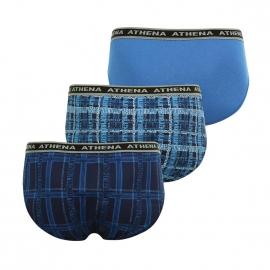 Lot de 3 slips taille basse Athena en jersey de coton bleu pétrole, bleu marine monogrammé et et bleu clair monogrammé