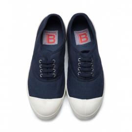 Baskets Bensimon à lacets en toile bleu marine