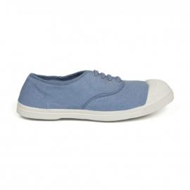 Baskets Bensimon à lacets en toile bleu jean