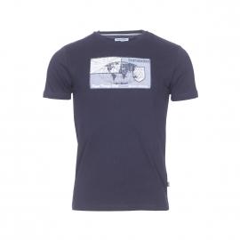 Tee-shirt col rond Victoria Bermudes en coton bleu marine avec empiècement brodé et floqué