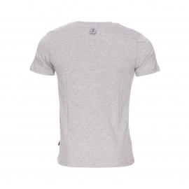 Tee-shirt col rond Victoria Bermudes en coton gris chiné avec empiècement brodé et floqué