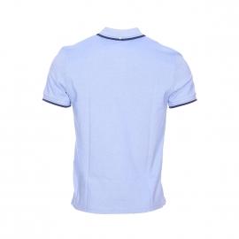 Polo Ben Sherman en piqué de coton bleu ciel et blanc, col à bandes bleu marine et bleu ciel