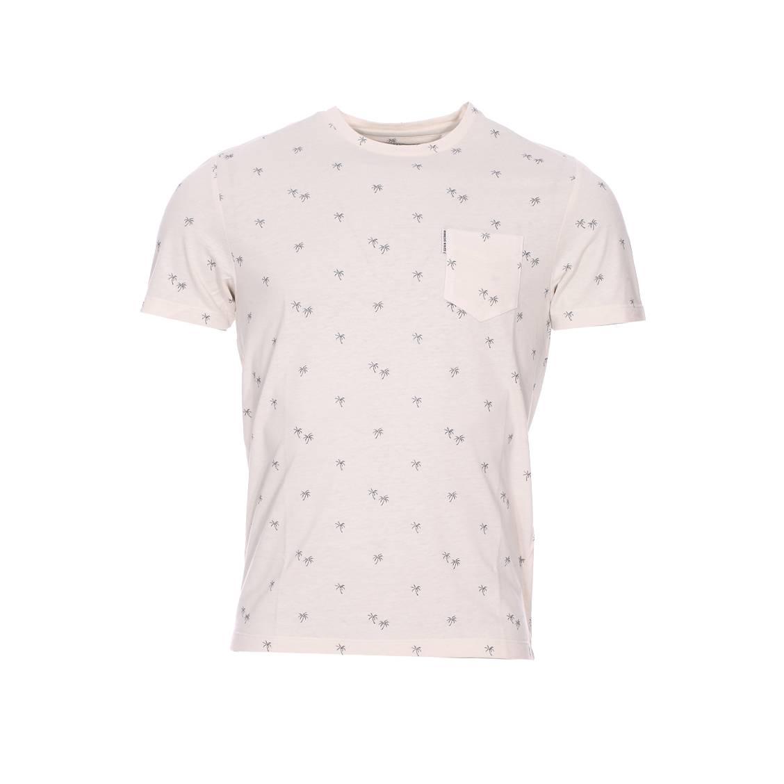 Tee-shirt col rond  crème à petits palmiers bleus