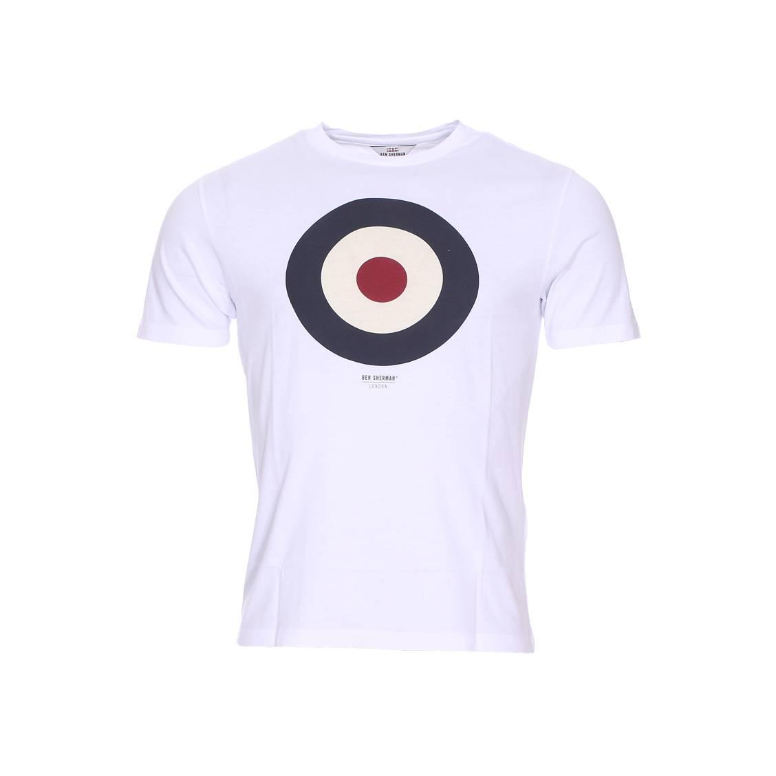Tee-shirt col rond  en coton blanc à imprimé cible