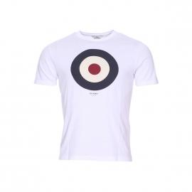 Tee-shirt col rond Ben Sherman en coton blanc à imprimé cible
