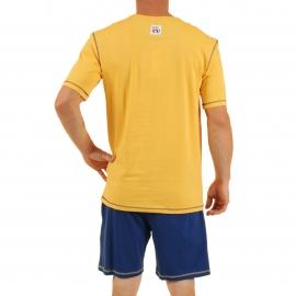 Pyjama court Megabulle Christian Cane en coton : tee-shirt col tunisien jaune paille imprimé