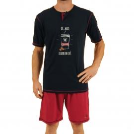 Pyjama court Megacoffee Christian Cane en coton : tee-shirt col tunisien bleu marine imprimé