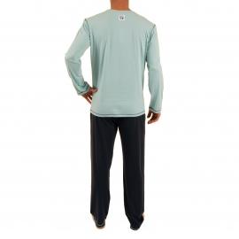 Pyjama long Megamountain Christian Cane en coton : tee-shirt manches longues col tunisien bleu d'eau imprimé