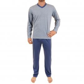 Pyjama long Vadim Christian Cane en coton : tee-shirt col V manches longues à motifs vagues bleues, blanches et vertes, pantalon bleu marine