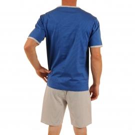Pyjama court Verdi Christian Cane en coton : tee-shirt col tunisien à rayures bleu électrique et bleu marine, bermuda à rayures bleu marine et blanches