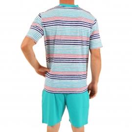 Pyjama court Virage Christian Cane en coton : tee-shirt col V gris clair à rayures bleu turquoise bleu marine et rouges, bermuda bleu turquoise