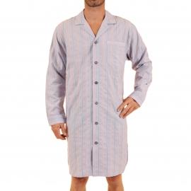 Liquette chemise Vivian Christian Cane en coton à rayures parme, blanches et orange