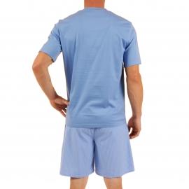 Pyjama court Verner Christian Cane en coton : tee-shirt col V bleu indigo, bermuda à carreaux bleu indigo et blancs