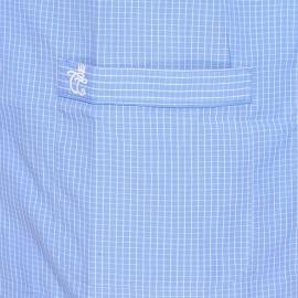Pyjama court Verner Christian Cane en coton : veste manches courtes boutonnée et bermuda bleu indigo à fins carreaux blancs